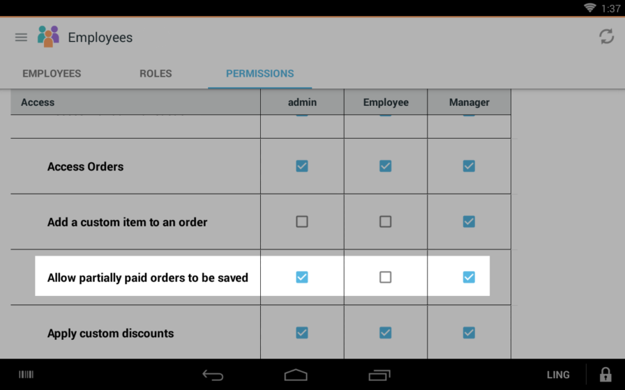 choose which employee roles can save partially paid orders